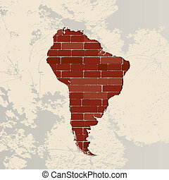 South America wall map