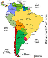 South America Regional Map, Countries, Cities, Capitals, Editable Color, Perfect for Sales and Marketing Presentations. A favorite for building sales and marketing territory maps, editable countries, Illustrator eps