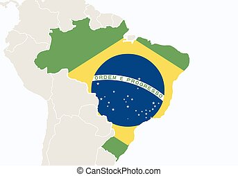 World map with highlighted brasil simlified political vector south america with highlighted brazil map gumiabroncs Choice Image