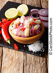 South American ceviche of fish cod with onions and peppers...