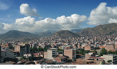 South American City Vista - City surrounded by large hills...