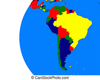 South american continent on political globe