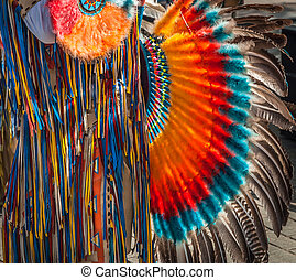 South American Indian musician costume detail