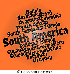 South American countries word cloud