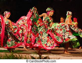 South American dancers - handmade watercolor painting...