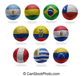 South American Football - Football balls with the national...