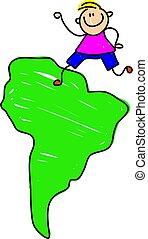 South American kid - happy little caucasian boy standing on...