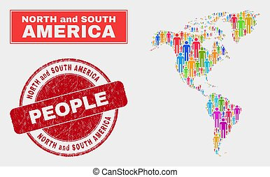 South and North America Map Population People and Corroded Watermark