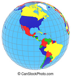 South and North America on the globe