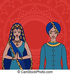 South Asia beautiful woman and man wearing indian traditional cloth, hinduism costume, sari on background