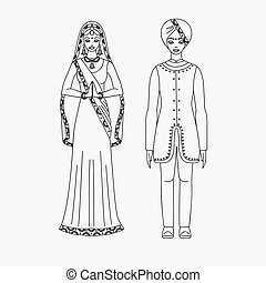 South Asia beautiful woman and man wearing indian traditional cloth, hinduism costume, sari on white background