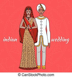 South Asia bride and groom, wedding ceremony. Indian traditional celebration, love couple, hinduism costume