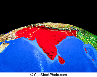 South Asia from space on Earth - South Asia on model of...