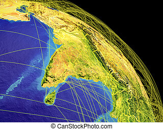 South Asia from space with country borders and trajectories...