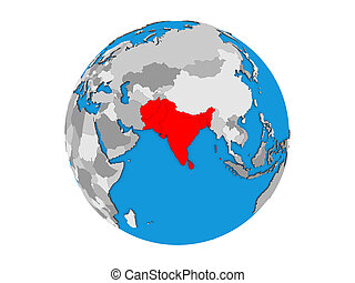 South Asia on 3D globe isolated