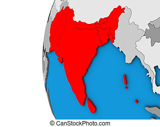 South Asia on 3D globe