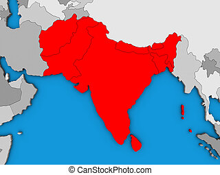 South Asia on 3D map - South Asia on blue political 3D...