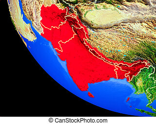 South Asia on Earth from space - South Asia on realistic...