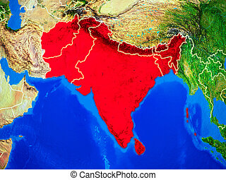 South Asia on Earth with borders - South Asia from space on...