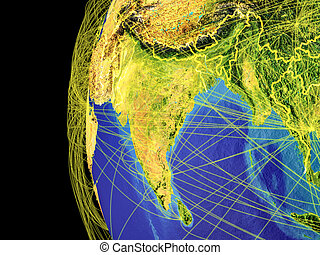 South Asia on globe from space