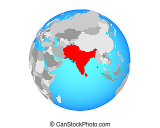 South Asia on globe isolated
