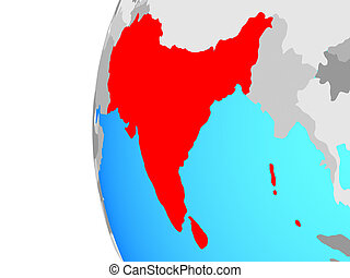 South Asia on globe - South Asia on blue political globe. 3D...