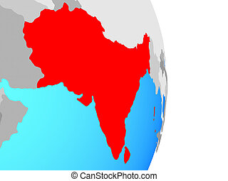 South Asia on globe