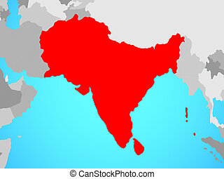 South Asia on map - South Asia on blue political globe. 3D...