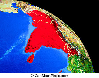 South Asia on planet Earth from space with country borders....