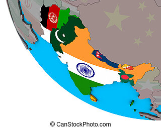 South Asia with flags on 3D globe