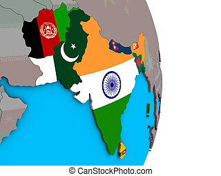 South Asia with flags on 3D globe - South Asia with embedded...