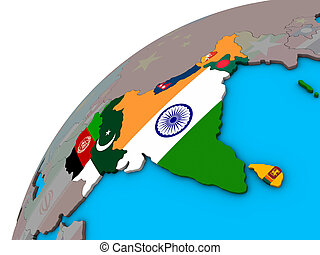 South Asia with flags on 3D globe - South Asia with national...