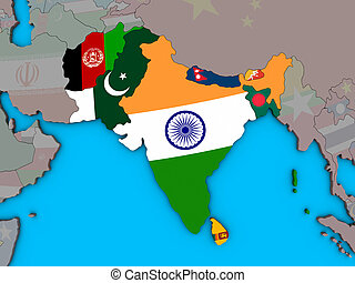 South Asia with flags on 3D map