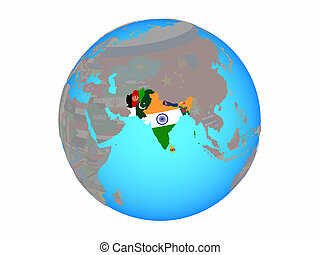South Asia with flags on globe isolated