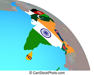 South Asia with flags on globe - South Asia with national...