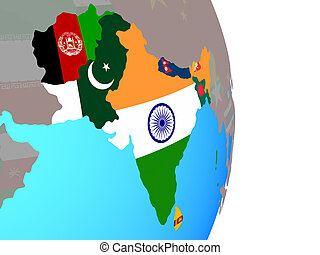 South Asia with flags on globe