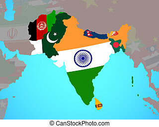 South Asia with flags on map