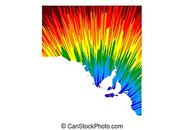 South Australia (Australian states and territories, SA) map is designed rainbow abstract colorful pattern, South Australia map made of color explosion,
