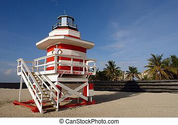 South Beach, Miami - Lifeguard Stand In South Beach Miami,...