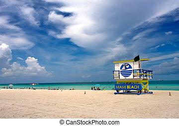 South Beach, Miami - Lifeguard Stand, South Beach Miami,...