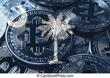 South Carolina bitcoin flag, South Carolina cryptocurrency concept