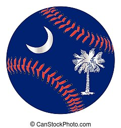 A new white baseball with red stitching with the South Carolina state flag overlay isolated on white