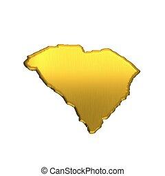 South Carolina golden map. 3D image design