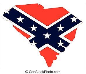 South Carolina Map And Confederate Flag