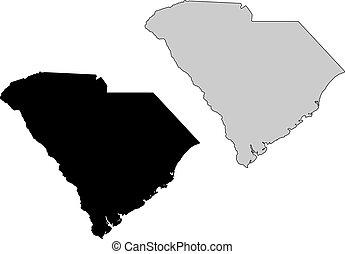 South Carolina map. Black and white. Mercator projection.