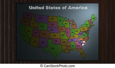 South Carolina pull out from USA states abbreviations map -...