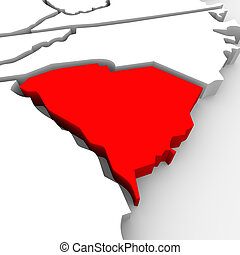 South Carolina Red Abstract 3D State Map United States...