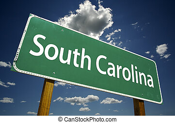 South Carolina Road Sign with dramatic clouds and sky.