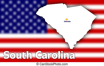 South Carolina state contour with Capital City against...