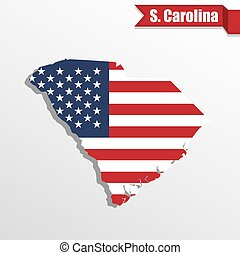 South Carolina State map with US flag inside and ribbon